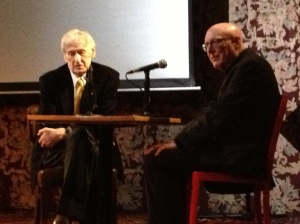 Michael Maclear (left) being interviewed at his book launch